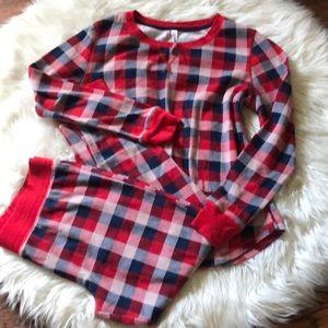 Red/Blue Flannel Patterned PJ Set